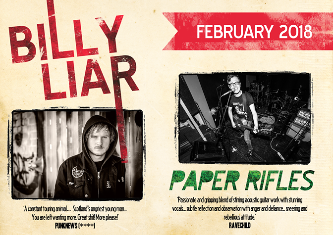 13.02.2018 Konzert mit Billy Liar & Paper Rifles (Solo)